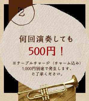 何回演奏しても500円!